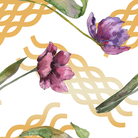Purple tulip floral botanical flowers. Wild spring leaf isolated. Watercolor illustration set. Watercolour drawing fashion aquarelle. Seamless background pattern. Fabric wallpaper print texture. 写真素材