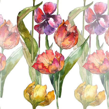 Yellow and red tulip botanical flower. Wild spring leaf isolated. Seamless background pattern. Fabric wallpaper print texture. Watercolor illustration set. Watercolour drawing fashion aquarelle. Stok Fotoğraf