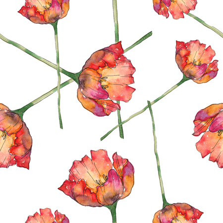 Red tulip botanical flower. Wild spring leaf isolated. Seamless background pattern. Fabric wallpaper print texture. Watercolor illustration set. Watercolour drawing fashion aquarelle.