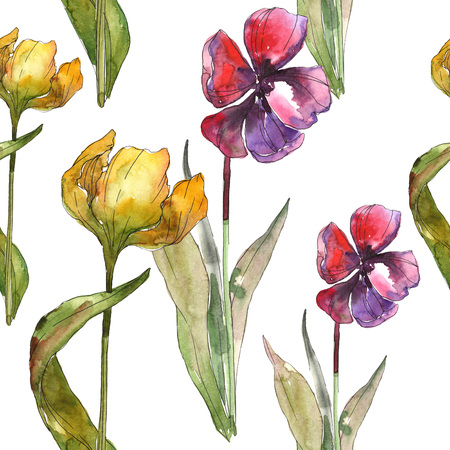 Yellow and red tulip botanical flower. Wild spring leaf isolated. Seamless background pattern. Fabric wallpaper print texture. Watercolor illustration set. Watercolour drawing fashion aquarelle. Banco de Imagens