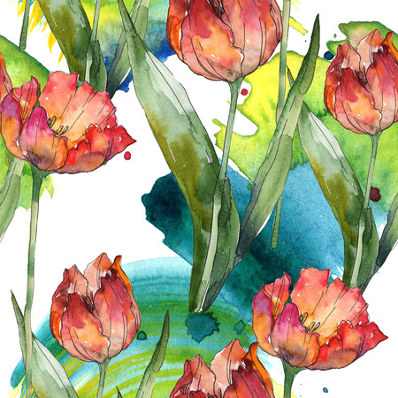 Red tulip botanical flower. Wild spring leaf isolated. Seamless background pattern. Fabric wallpaper print texture. Watercolor illustration set. Watercolour drawing fashion aquarelle. Stok Fotoğraf - 117618599