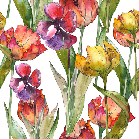 Yellow and red tulip botanical flower. Wild spring leaf isolated. Seamless background pattern. Fabric wallpaper print texture. Watercolor illustration set. Watercolour drawing fashion aquarelle. Stok Fotoğraf - 117618601