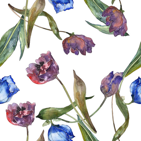 Purple and blue tulip botanical flower. Wild spring leaf isolated. Watercolor illustration set. Watercolour drawing fashion aquarelle. Seamless background pattern. Fabric wallpaper print texture. 写真素材