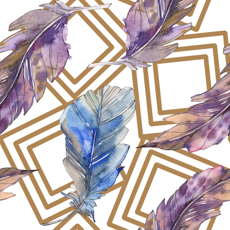 Bird feather from wing isolated. Watercolor background illustration set. Watercolour drawing fashion aquarelle isolated. Seamless background pattern. Fabric wallpaper print texture.