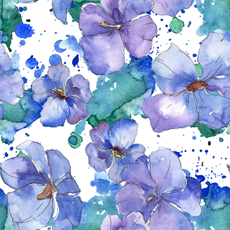 Blue purple flax floral botanical flower. Wild spring leaf isolated. Watercolor illustration set. Watercolour drawing fashion aquarelle. Seamless background pattern. Fabric wallpaper print texture.