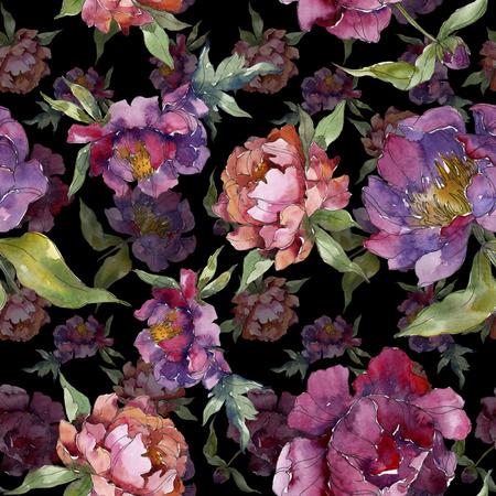Lila Pfingstrose botanische Blumenblume. Wildes Frühlingsblatt isoliert. Aquarellillustrationssatz. Aquarellzeichnung Mode-Aquarell. Nahtloses Hintergrundmuster. Stofftapete Drucktextur.