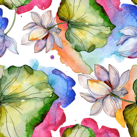 Blue purple floral botanical flower. Wild spring leaf. Watercolor illustration set. Watercolour drawing fashion aquarelle isolated. Seamless background pattern. Fabric wallpaper print texture. Stock Photo