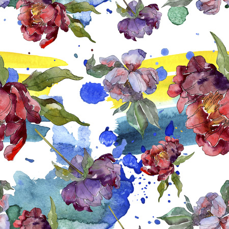 Red and purple peony botanical flower. Wild spring leaf isolated. Watercolor illustration set. Watercolour drawing fashion aquarelle. Seamless background pattern. Fabric wallpaper print texture.