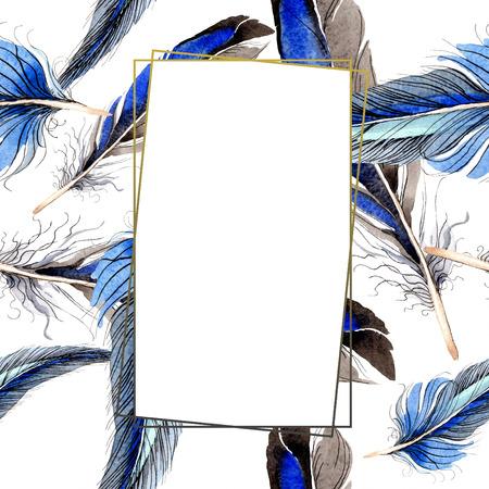 Pluma de pájaro del ala aislada. Conjunto de ilustración de fondo de acuarela. Acuarela dibujo aquarelle de moda aislado. Cuadrado del ornamento de la frontera del marco en el fondo blanco.