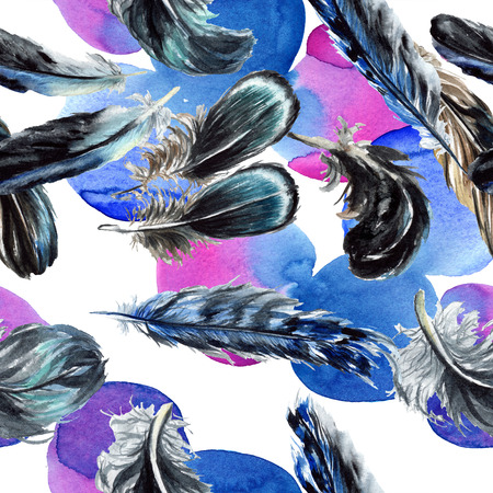 Blue black bird feather from wing isolated. Watercolor background illustration set. Watercolour drawing fashion aquarelle. Seamless background pattern. Fabric wallpaper print texture. 写真素材