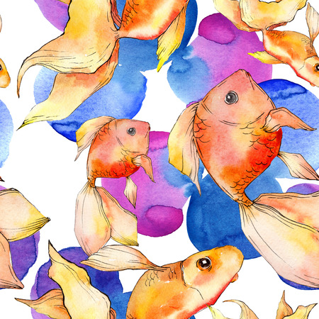 Watercolor aquatic underwater colorful tropical fish background illustration set. Watercolour drawing fashion aquarelle isolated. Seamless background pattern. Fabric wallpaper print texture. Banco de Imagens - 117488702