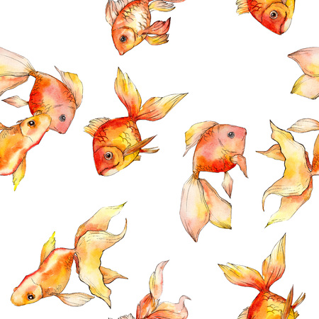 Watercolor aquatic underwater colorful tropical fish background illustration set. Watercolour drawing fashion aquarelle isolated. Seamless background pattern. Fabric wallpaper print texture. Standard-Bild - 117488730