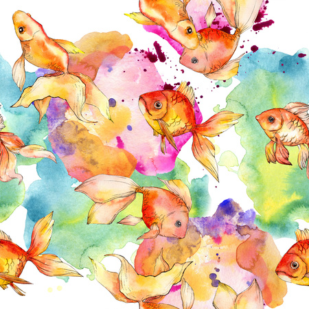 Watercolor aquatic underwater colorful tropical fish background illustration set. Watercolour drawing fashion aquarelle isolated. Seamless background pattern. Fabric wallpaper print texture. Stock Photo