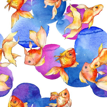 Watercolor aquatic underwater colorful tropical fish background illustration set. Watercolour drawing fashion aquarelle isolated. Seamless background pattern. Fabric wallpaper print texture. 版權商用圖片