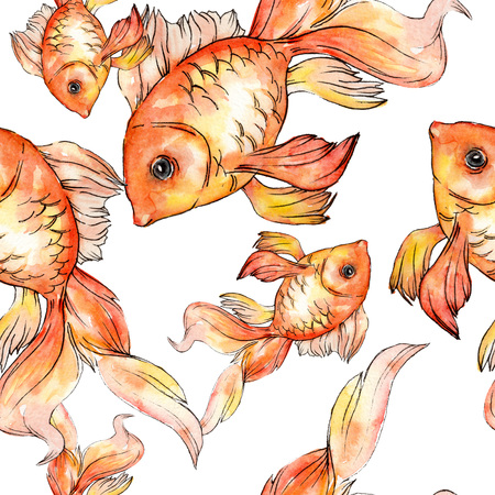 Watercolor aquatic underwater colorful tropical fish background illustration set. Watercolour drawing fashion aquarelle isolated. Seamless background pattern. Fabric wallpaper print texture. Фото со стока