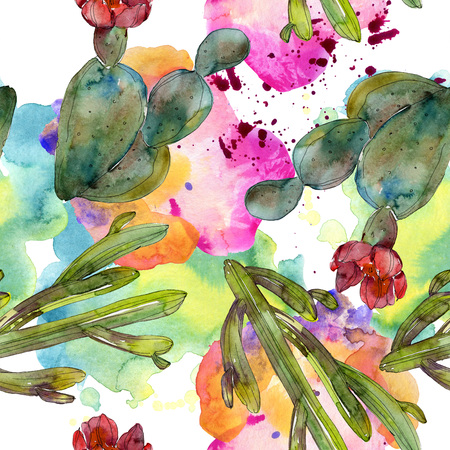 Green cactus floral botanical flower. Wild spring wildflower isolated. Watercolor illustration set. Watercolour drawing fashion aquarelle. Seamless background pattern. Fabric wallpaper print texture.