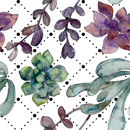 Exotic tropical hawaiian summer. Jungle botanical succulent. Watercolor illustration set. Watercolour drawing fashion aquarelle isolated. Seamless background pattern. Fabric wallpaper print texture.