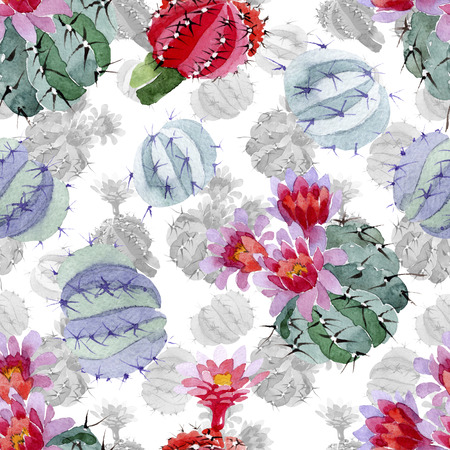 Green red cactus botanical flower. Wild spring leaf isolated. Watercolor illustration set. Watercolour drawing fashion aquarelle. Seamless background pattern. Fabric wallpaper print texture. Stok Fotoğraf - 117636712