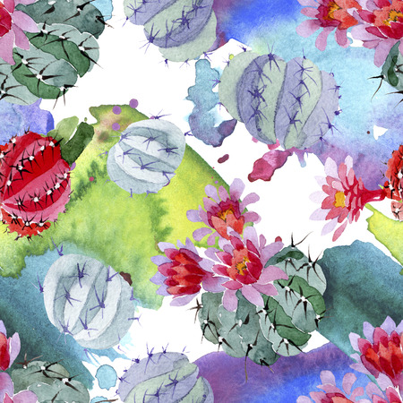 Green red cactus botanical flower. Wild spring leaf isolated. Watercolor illustration set. Watercolour drawing fashion aquarelle. Seamless background pattern. Fabric wallpaper print texture.