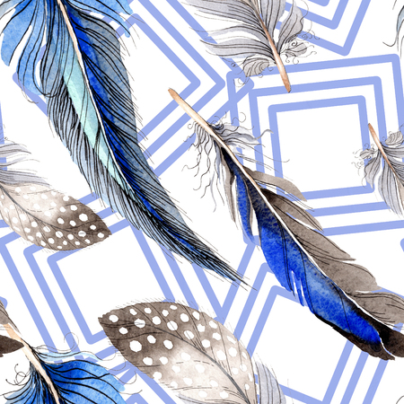 Watercolor blue and black bird feather from wing. Aquarelle feather for background, texture, wrapper pattern. Watercolour drawing fashion seamless background pattern. Fabric wallpaper print texture. Stok Fotoğraf