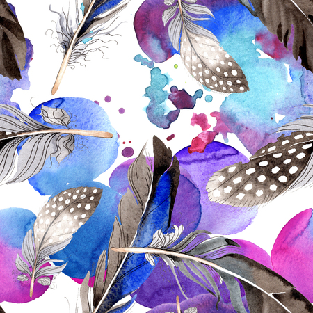Watercolor blue and black bird feather from wing. Aquarelle feather for background, texture, wrapper pattern. Watercolour drawing fashion seamless background pattern. Fabric wallpaper print texture. 写真素材 - 117489446