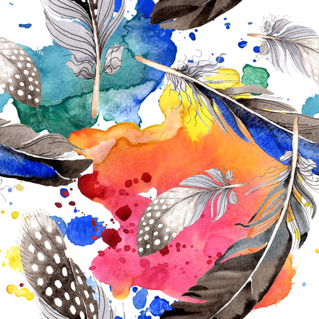 Watercolor blue and black bird feather from wing. Aquarelle feather for background, texture, wrapper pattern. Watercolour drawing fashion seamless background pattern. Fabric wallpaper print texture. 写真素材