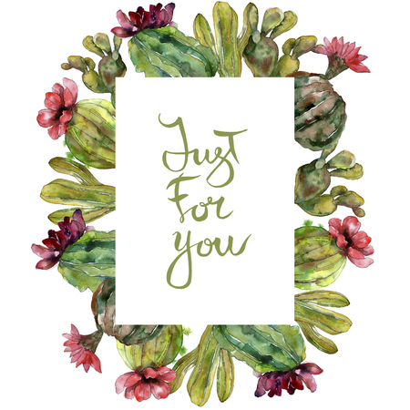 Green cactus floral botanical flower. Wild spring leaf wildflower isolated. Watercolor background illustration set. Watercolour drawing fashion aquarelle. Frame border ornament square. Imagens