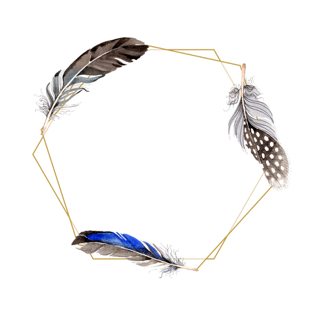 Watercolor blue and black bird feather from wing isolated. Aquarelle feather for background, frame or border. Watercolour drawing fashion aquarelle isolated. Frame border ornament square. Standard-Bild - 117489473