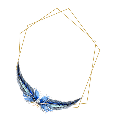 Watercolor blue and black bird feather from wing isolated. Aquarelle feather for background, frame or border. Watercolour drawing fashion aquarelle isolated. Frame border ornament square. Standard-Bild - 117489478