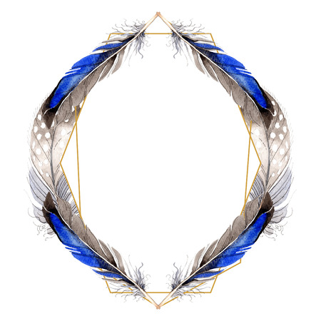 Watercolor blue and black bird feather from wing isolated. Aquarelle feather for background, frame or border. Watercolour drawing fashion aquarelle isolated. Frame border ornament square. Standard-Bild - 117489489