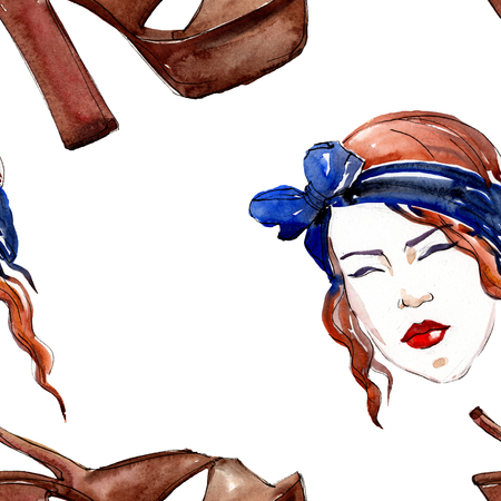 Fashionable sketch fashion glamour illustration in a watercolor style element. Clothes accessories set trendy vogue outfit. Watercolour set seamless background pattern. Fabric wallpaper print texture. Banque d'images - 117489590