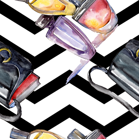Fashionable sketch fashion glamour illustration in a watercolor style element. Clothes accessories set trendy vogue outfit. Watercolour set seamless background pattern. Fabric wallpaper print texture.