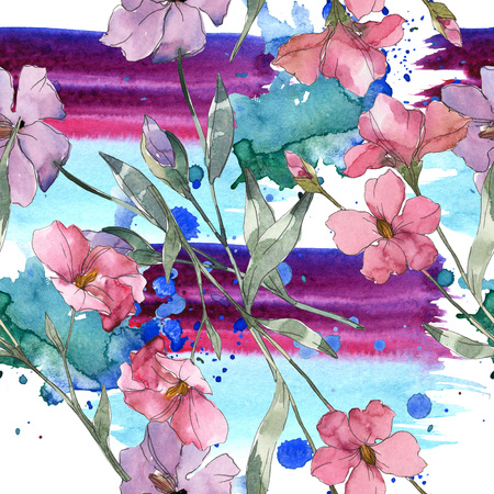 Pink and purple flax botanical flower. Wild spring leaf isolated. Watercolor illustration set. Watercolour drawing fashion aquarelle. Seamless background pattern. Fabric wallpaper print texture.