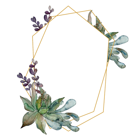 Exotic tropical hawaiian summer. Jungle botanical succulent. Watercolor background illustration set. Watercolour drawing fashion aquarelle isolated. Frame border ornament square. Stock Photo