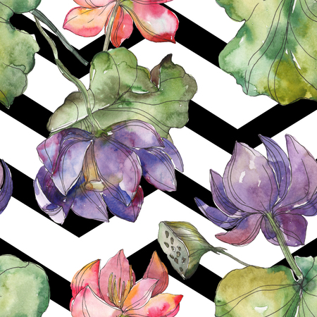 Pink and purple lotus botanical flower. Wild spring leaf isolated. Watercolor illustration set. Watercolour drawing fashion aquarelle. Seamless background pattern. Fabric wallpaper print texture. Reklamní fotografie
