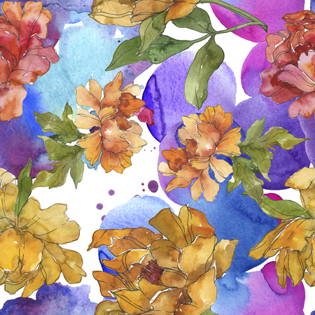 Yellow and red peony botanical flower. Wild spring leaf isolated. Watercolor illustration set. Watercolour drawing fashion aquarelle. Seamless background pattern. Fabric wallpaper print texture.
