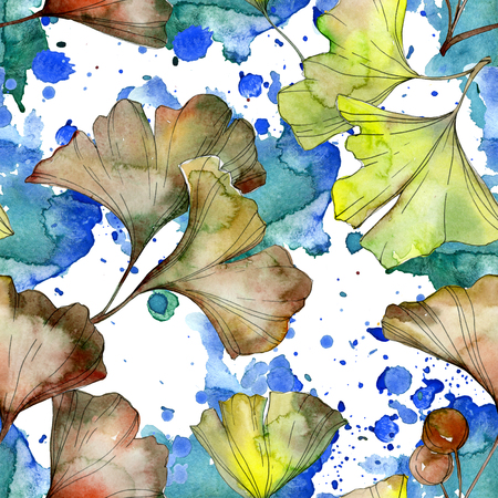 Ginkgo biloba green leaf plant botanical garden floral foliage. Watercolor illustration set. Watercolour drawing fashion aquarelle. Seamless background pattern. Fabric wallpaper print texture.