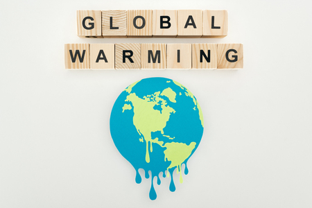 paper cut melting sign and global warming lettering on wooden cubes on grey background 스톡 콘텐츠
