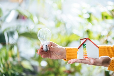 selective focus of led lamp and carton house model in woman hands, energy efficiency at home concept Stock Photo