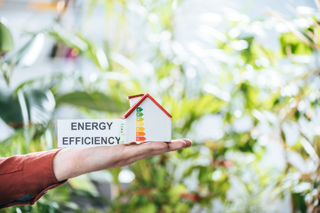 cropped view of man holding card with lettering and carton house in hands, energy efficiency at home concept