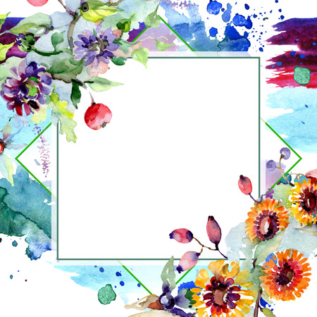 Bouquet with flowers and berries. Floral botanical flower. Wild spring leaf wildflower isolated. Watercolor background illustration set. Watercolour drawing fashion aquarelle isolated. 版權商用圖片