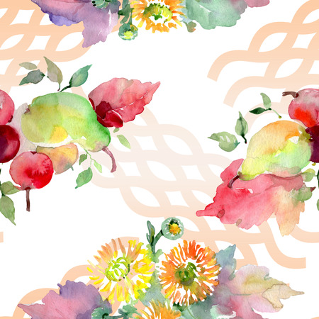 Bouquets with flowers and fruits. Wild spring leaf wildflower isolated. Watercolor illustration set. Watercolour drawing fashion aquarelle. Seamless background pattern. Fabric wallpaper print texture.