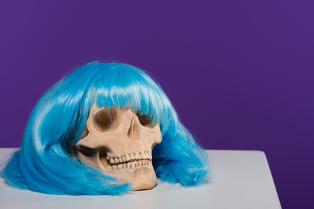 skull in blue wig on purple background with copy space