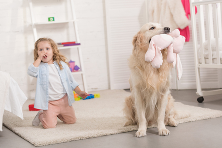 surprised adorable kid sitting near golden retriever holding toy in children room