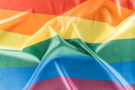 top view of creased lgbt rainbow flag
