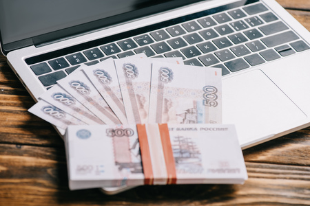 close-up view of russian rubles banknotes on laptop computer keyboard Reklamní fotografie