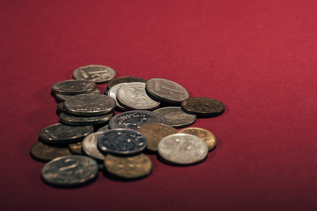 close-up view of russian rubles coins on red background Reklamní fotografie