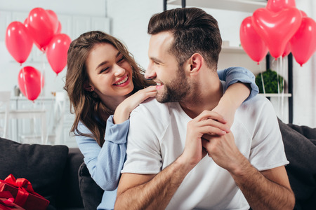 loving young couple celebrating st valentine day at home Stock fotó