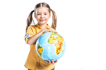 adorable smiling kid holding globe isolated on white, earth day concept Standard-Bild