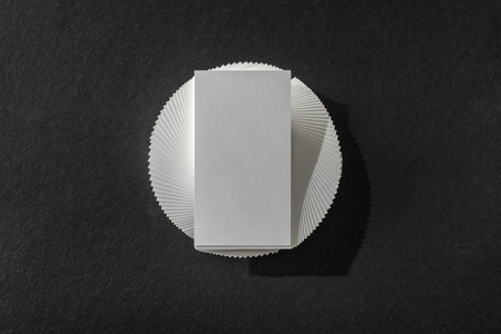top view of blank card on black table with copy space Stock Photo